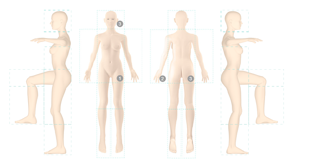 3D Body Map Poses For DermEngine Total Body Photography