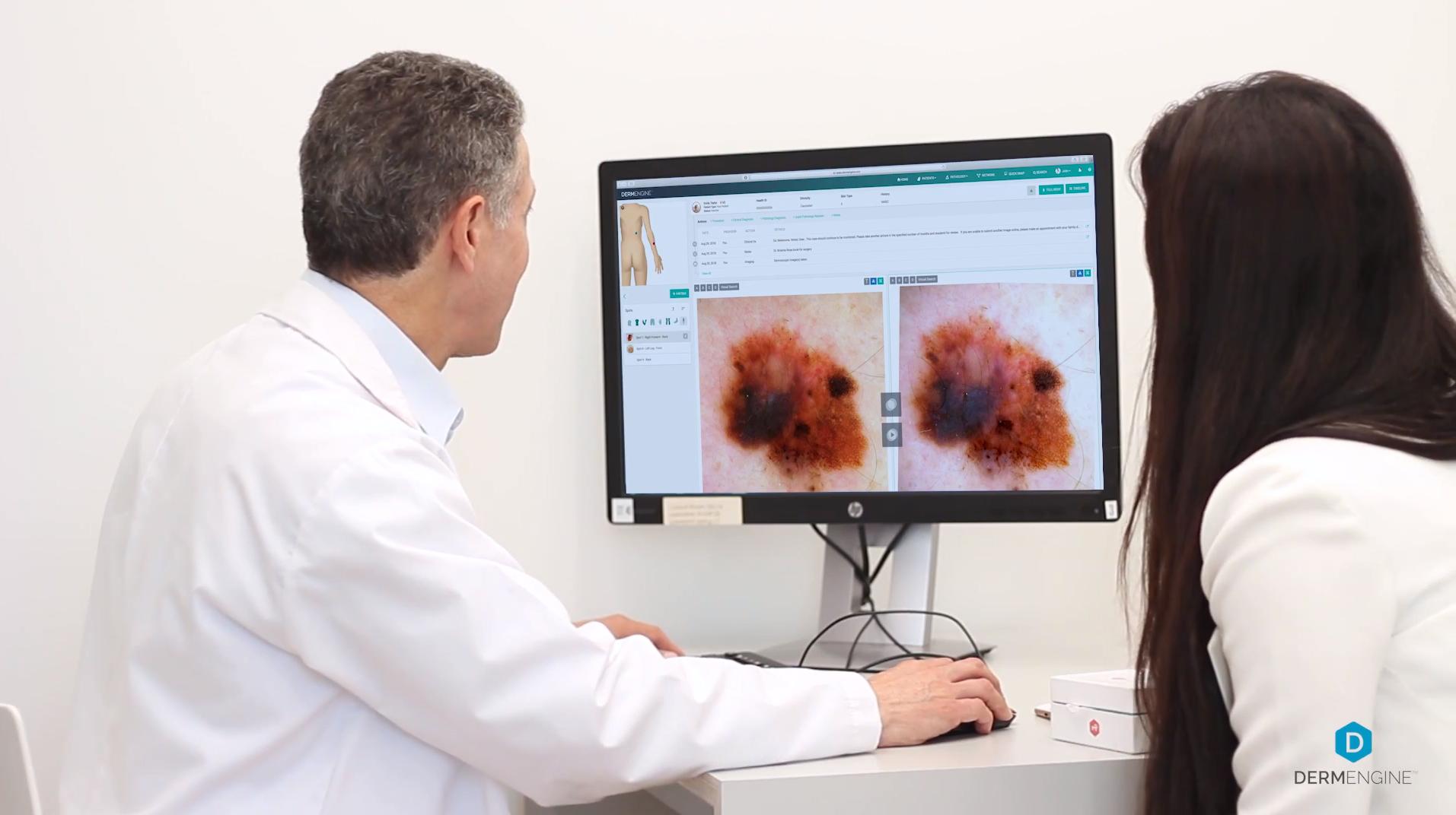 Dermatologists Reviewing Skin Lesions With DermEngine's Intelligent Dermatology Algorithms