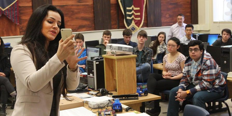 Maryam demoing MoleScope (mobile dermatoscope) for SFU students